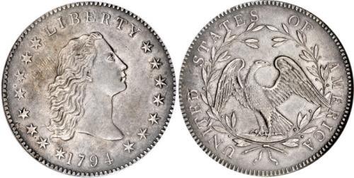 2. Доллар «Струящиеся волосы», 1794 год Один из первых в истории долларов был выпущен в 1794 году на территории США и по сей день обладает ярким названием «Струящиеся волосы». Дизайн монеты разработан Робертом Скоттом, а внешний вид, форма и даже вес напоминали крайне популярный в то время испанский доллар. Созданная из серебряно-медного сплава, она обладает изображением Свободы на аверсе и орла на реверсе. Всего через год она была заменена другой и изъята из обихода, а потому её значимость и редкость повлияли на планку цены. В 2013 году один из экземпляров продали примерно за 10 миллионов долларов.