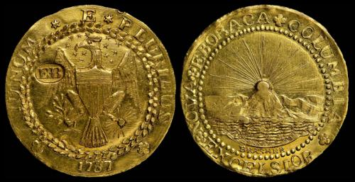 4. Золотой дублон Брашера, 1787 год Эта монета была изготовлена известным нью-йоркским ювелиром Эфраимом Брашером. Известно, что он производил монеты самостоятельно, чеканя их из меди, но в конечном итоге правительство Нью-Йорка запретило ему выпуск новых медных монет. На сегодняшний день эта монета существует в нескольких разновидностей, что оцениваются абсолютно по-разному. Так, в 2011 году на аукционе появилась монета, которая имела аверс с орлом, на груди которого были инициалы самого Брашера, и ушла она с молотка за 7,4 миллиона долларов. Чуть позже, в 2014 году, появилась ещё одна монета Брашера, которая имела его личную подпись на крыльях орла, и продалась она за 4,5 миллиона долларов.