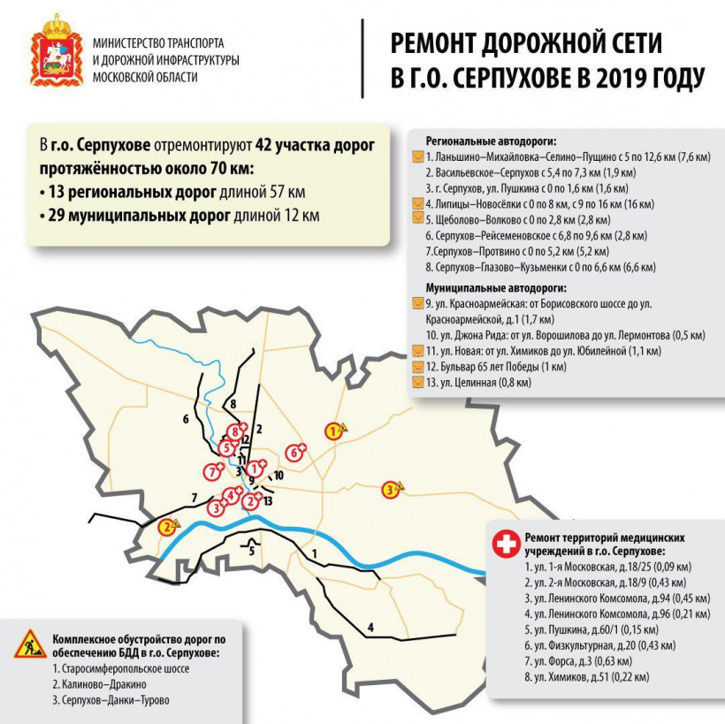 Почти 70 км дорог отремонтируют в Серпухове в 2019 году