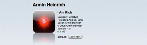 Приложение I Am Rich — $999.99 Изобретение Армина Хайнриха (Armin Heinrich) носит неофициальный статус самого дорогого в истории AppStore. Это не удивительно, учитывая, что $999.99 — максимально разрешенная стоимость контента, распространяемого в магазине приложений Apple. Комично, что программа соревнуется и за титул самого бесполезного, ведь его единственная функция проявляется при нажатии на красный сияющий камень: действие выводит на экран надпись «Я богат я заслуживаю это я хорош, здоров и успешен». Оригинальное приложение было удалено из AppStore и заново выпущено с обновленным функционалом по сниженной цене — всего $8.99. Восемь человек, однако, успели приобрести продукт по старой цене и, возможно, до сих пор поднимают себе самооценку той самой надписью.