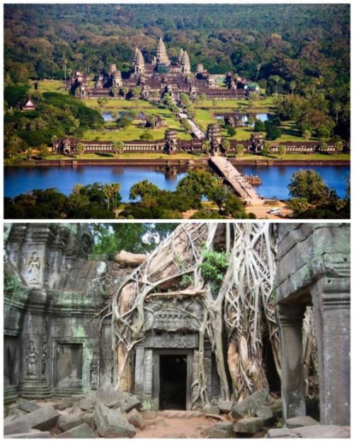 3. Храмовый комплекс Ангкор-Ват (Камбоджа) Ангкор-Ват (Angkor Wat) является гигантским индуистским храмовым комплексом с невероятной архитектурой, первые культовые сооружения которого начали возводиться еще в VI веке для правящей верхушки и высокопоставленных священнослужителей. Целых 600 лет его территория увеличивалась, превращаясь в мощный храмовый комплекс, который в те времена назывался «Местоположение Святого Вишну». По неизвестной причине в XV веке все священнослужители и монахи покинули святыню, и с тех пор он был практически законсервирован.