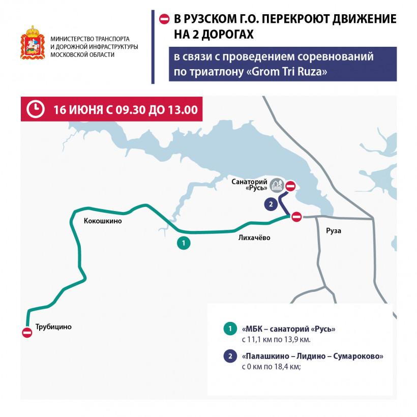 Движение по 2 дорогам перекроют в Рузе во время проведения «Grom Tri Ruza» 16 июня