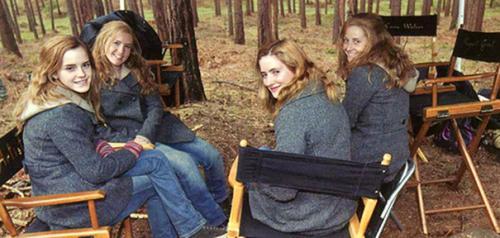 Эмма Уотсон и ее дублеры на съемках «Гарри Поттера».