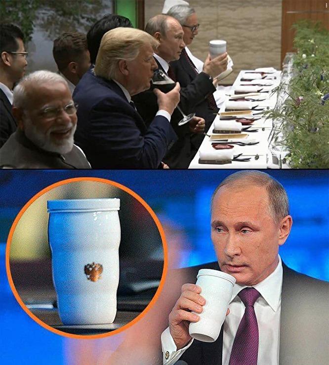 «Кружка из дома»: Путин пришел на застолье лидеров G20 со своим термосом