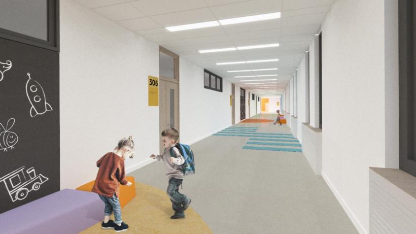 Современные интерьерные решения разработали для пристройки к школе в Орехово-Зуеве