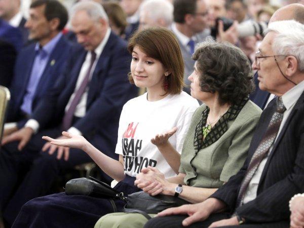 Журналистка пришла на прием в Кремль в футболке «Я/Мы Иван Голунов» и сидела час напротив Путина