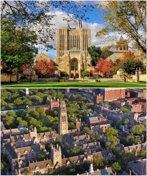 4. Йельский университет в Нью-Хейвене (штат Коннектикут, США) Йельский университет является частным исследовательским университетом, который входит в восьмерку наиболее престижных американских университетов. Сложно себе представить, но только территория основной части университета занимает 69 га земли, на которых разместилось 439 помещений университетского городка (кампуса), большинство их которых представляет особую архитектурную ценность. Конечно же, все эти корпуса строились на протяжении 500 лет, поэтому архитектурные стили и направления разнятся. Здесь без проблем можно изучать становление американской архитектуры, начиная от ново-колониальных принципов и викторианской готики и заканчивая ультрасовременными экспериментами. Интересно: Кампус университета – это так называемый студенческий городок, в котором расположены учебные корпуса, научно-исследовательские центры, библиотеки, спорткомплексы, стадионы, студенческие общежития, магазины, кафе и развлекательные учреждения.