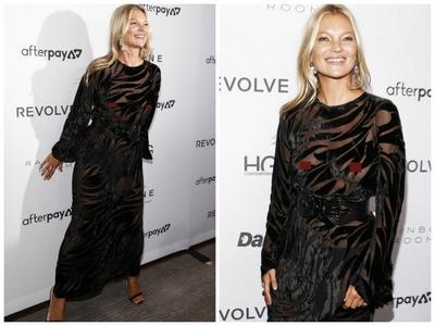 Кейт Мосс появилась на открытии Недели моды без белья и в прозрачном платье