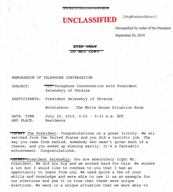 Опубликована расшифровка разговора Трампа с Зеленским, из-за которого президенту США грозит импичмент