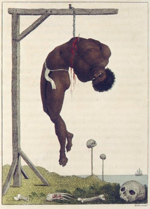 «Подвешенный живой негр» Это ужасное творение Уильяма Блейка изображает раба-негра, который был повешен на виселицу с помощью крючка, продетого через его ребра. Работа основана на рассказе голландского солдата Стэдмена – очевидце подобной жестокой расправы.