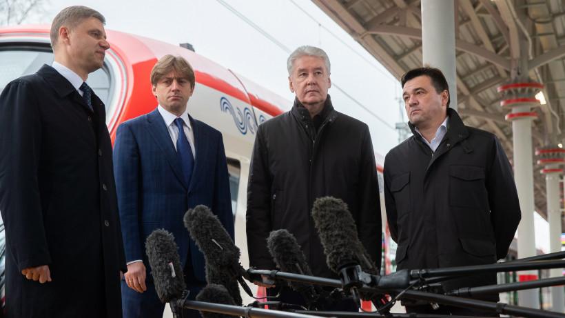 Андрей Воробьев, Сергей Собянин и Олег Белозеров проверили подготовку к открытию МЦД