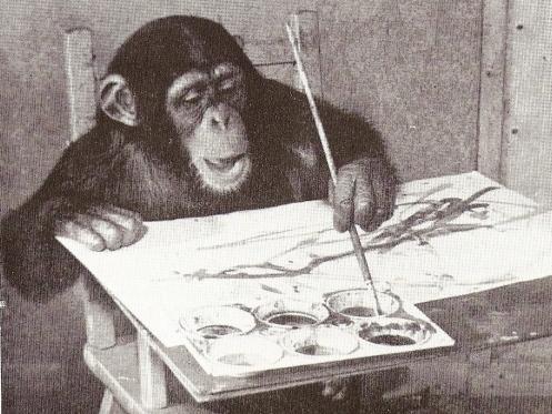 Наблюдавший за ним Моррис с удивлением обнаружил, что обезьяна самостоятельно научилась рисовать круг, в ее картинах даже стала просматриваться определенная композиция. Когда Моррис рисовал что-то на одной стороне листа, шимпанзе брал кисть и добавлял мазки на другую сторону, делая рисунок симметричным. При этом Конго никогда не рисовал за пределами холста и, кажется, знал, когда картину можно было назвать законченной, — в этом случае он просто откладывал кисть в сторону. Если ему приносили чистый лист, он немедленно принимался за работу, если же это было его старое произведение — к нему он больше не прикасался.