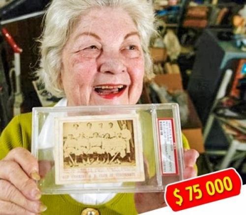 9. Бейсбольная карточка Пожилая дама Бернис Калего, прибираясь в своем доме, нашла старую фотографию бейсбольной команды. Предприимчивая старушка выставила карточку на eBay за $ 10. В итоге Бернис получила больше $ 75 тыс., когда подлинность карточки подтвердила Ассоциация по ценным бумагам.
