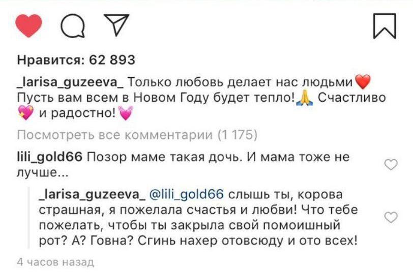 """""""Сгинь, корова жирная"""": Гузеева сцепилась с Сети с подписчицей"""