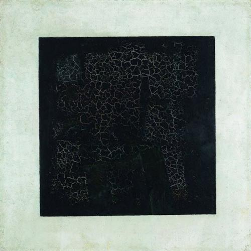 9. Черный квадрат, Казимир Малевич В 1913 году, в год рождения Адольфа Рейнхардта, Казимир Малевич предсказал содержание своих последних картин созданным им черным квадратом. В то время как Рейнхардт закрашивал полотно черным, Малевич просто нарисовал в центре черный квадрат. Он написал: «В 1913 году, отчаянно пытаясь освободить искусство от мертвого груза реального мира, я нашел убежище в форме квадрата». Некоторые описывали «Черный квадрат» как «первую картину, созданную кем-то, на которой не было что-то изображено». Сам Малевич называл ее также «нулевой точкой искусства», чтобы обозначить все искусство, пришедшее после, как современное. Хотя картина когда-то была однородного черного цвета, время проложило по ее поверхности дорожку трещин, что открыло ее белую подложку.
