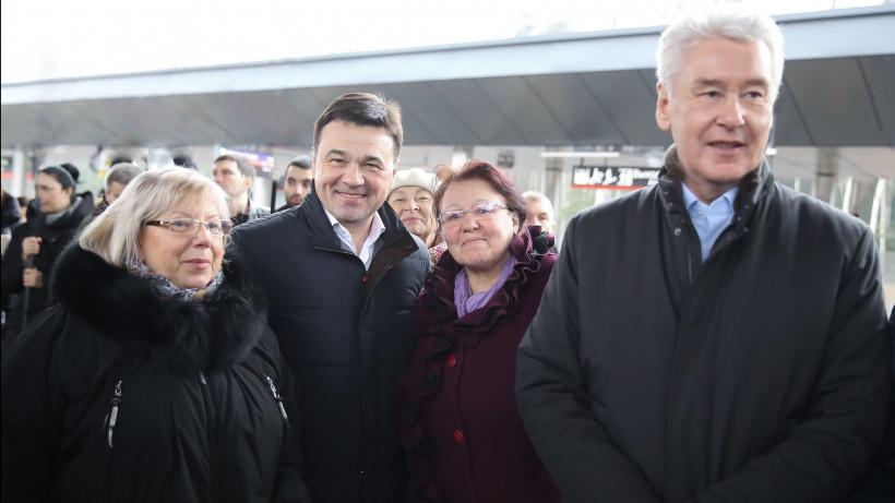 Андрей Воробьев и Сергей Собянин открыли остановочный пункт Победа в Наро-Фоминске