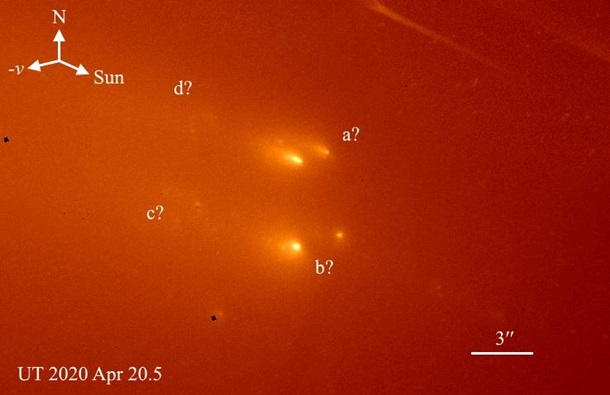 Hubble снял распавшуюся комету Atlas