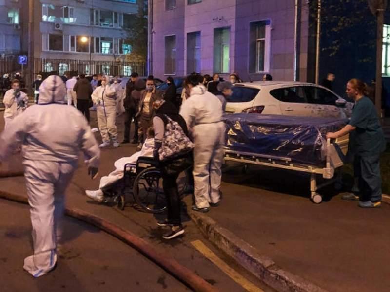 Пожар в больнице в Москве