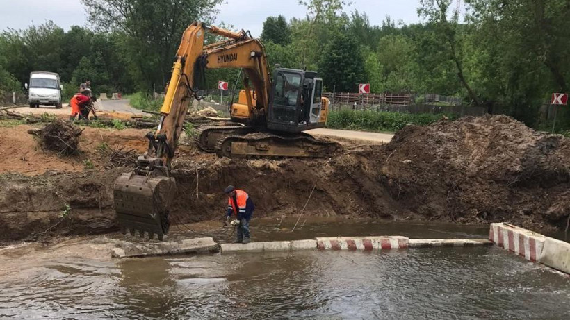 Капремонт водопропускной трубы через реку Петрицу начался в Подольске
