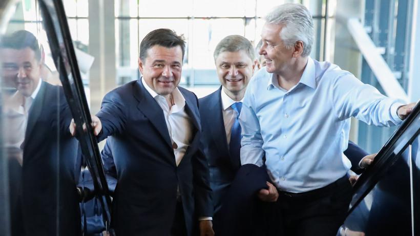 Андрей Воробьев, Сергей Собянин и Олег Белозеров открыли вокзал Нахабино на МЦД-2 после реконструкции