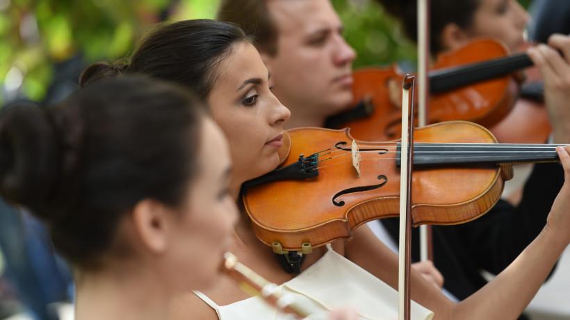 Музыканты со скрипками на концерте
