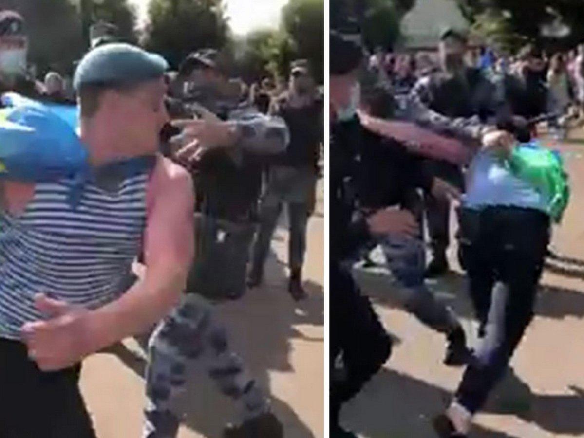 Драка десантников и росгвардейцев в Москве попала на видео