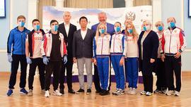 Олег Матыцин встретился с президентом Международной федерации гимнастики Моринари Ватанабэ и сборной командой России по спортивной гимнастике