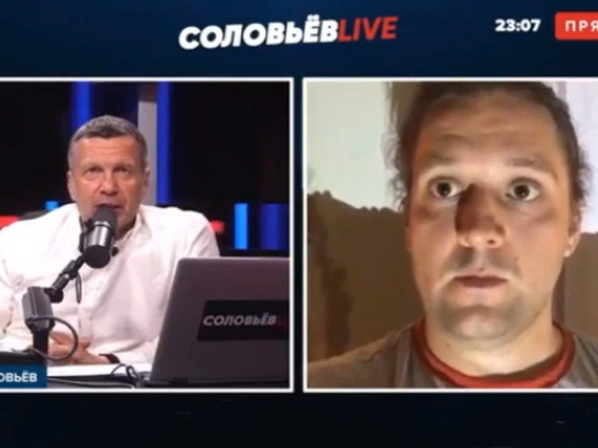Рабочий БелАЗа показал Соловьеву гениталии в прямом эфире