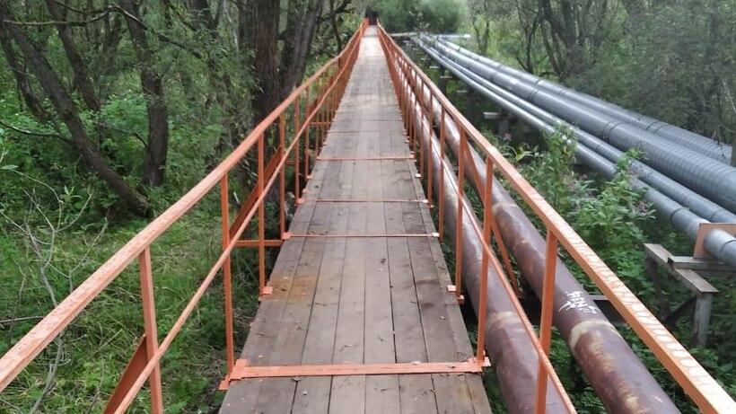 Ремонт пешеходного моста через реку выполнили в Сергиевом Посаде