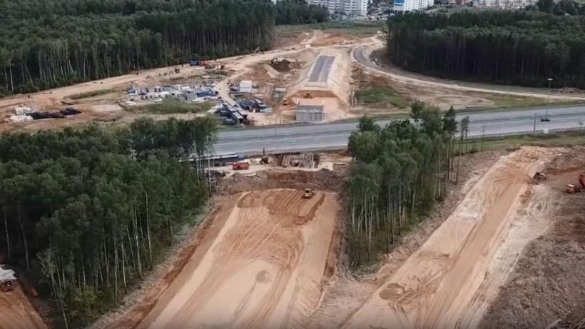 Укладку асфальта начали на подходах к путепроводу через Северный обход Одинцова