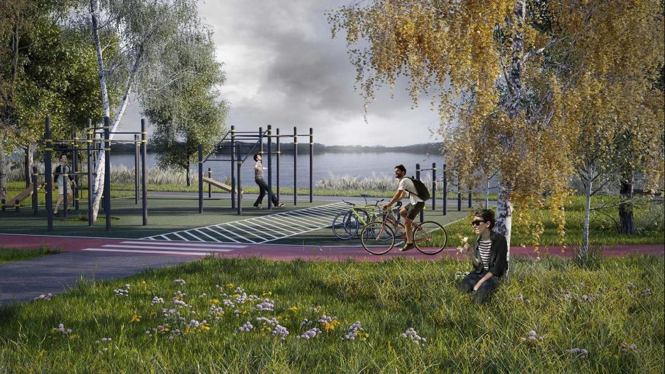 Михаил Хайкин проверил ход благоустройства набережной в парке «Елочки» в Домодедове