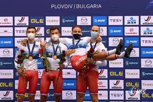 Мужская сборная России по велоспорту на треке выиграла командную гонку преследования на Чемпионате Европы