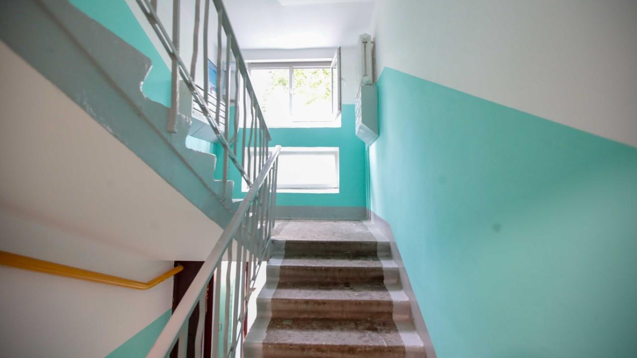 По требованию Госжилинспекции Подмосковья покрасили стены подъезда дома в Балашихе