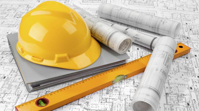 Каска и схема строительства в Главгосстройнадзоре