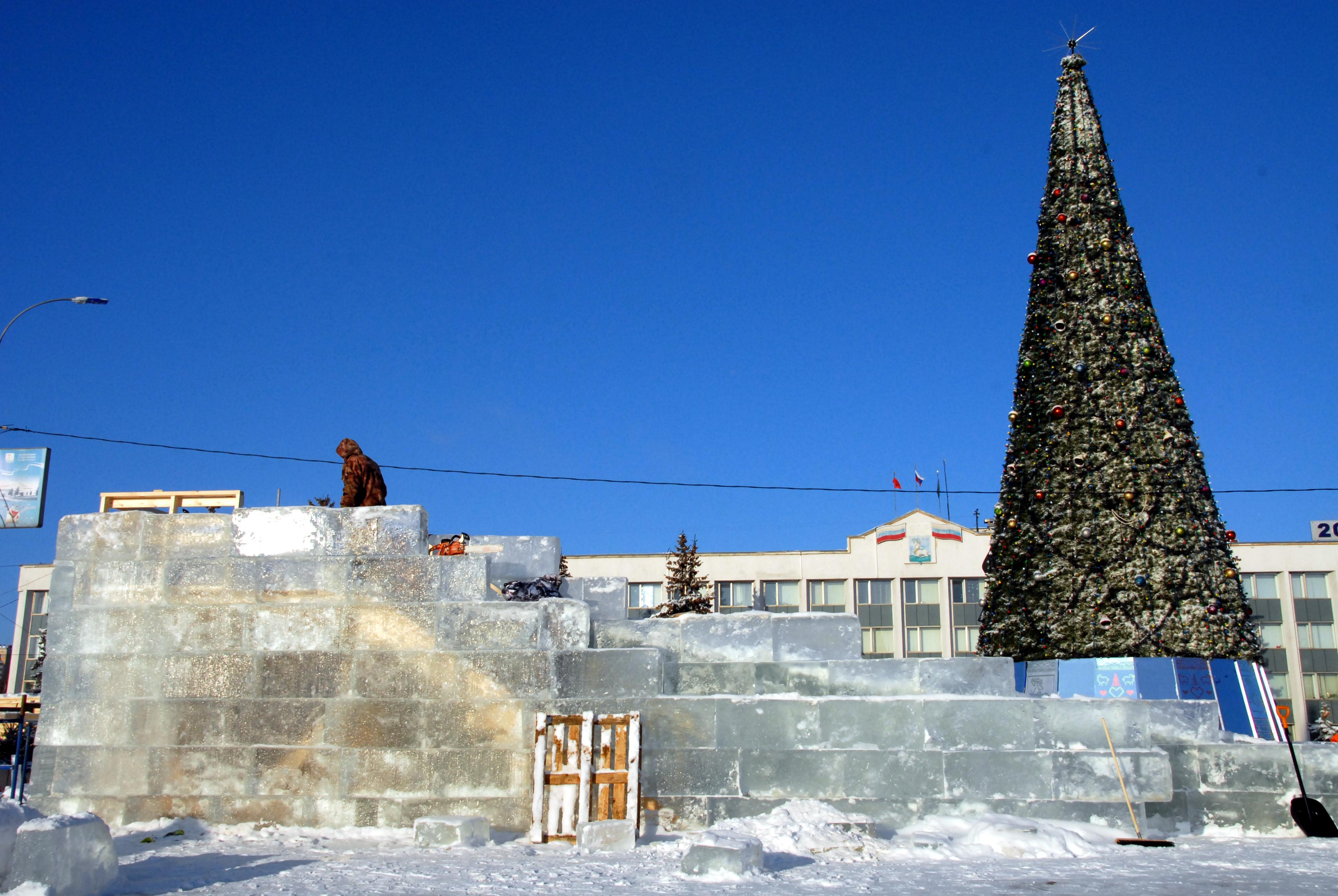 Строительство ледяной горки в Одинцово