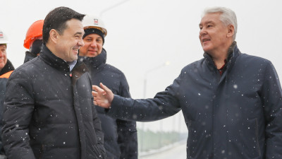 Андрей Воробьев и Сергей Собянин открыли движение по новому путепроводу в Одинцовском округе