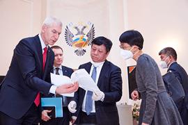 Олег Матыцин встретился с Чрезвычайным и Полномочным Послом КНР в России Чжаном Ханьхуэем