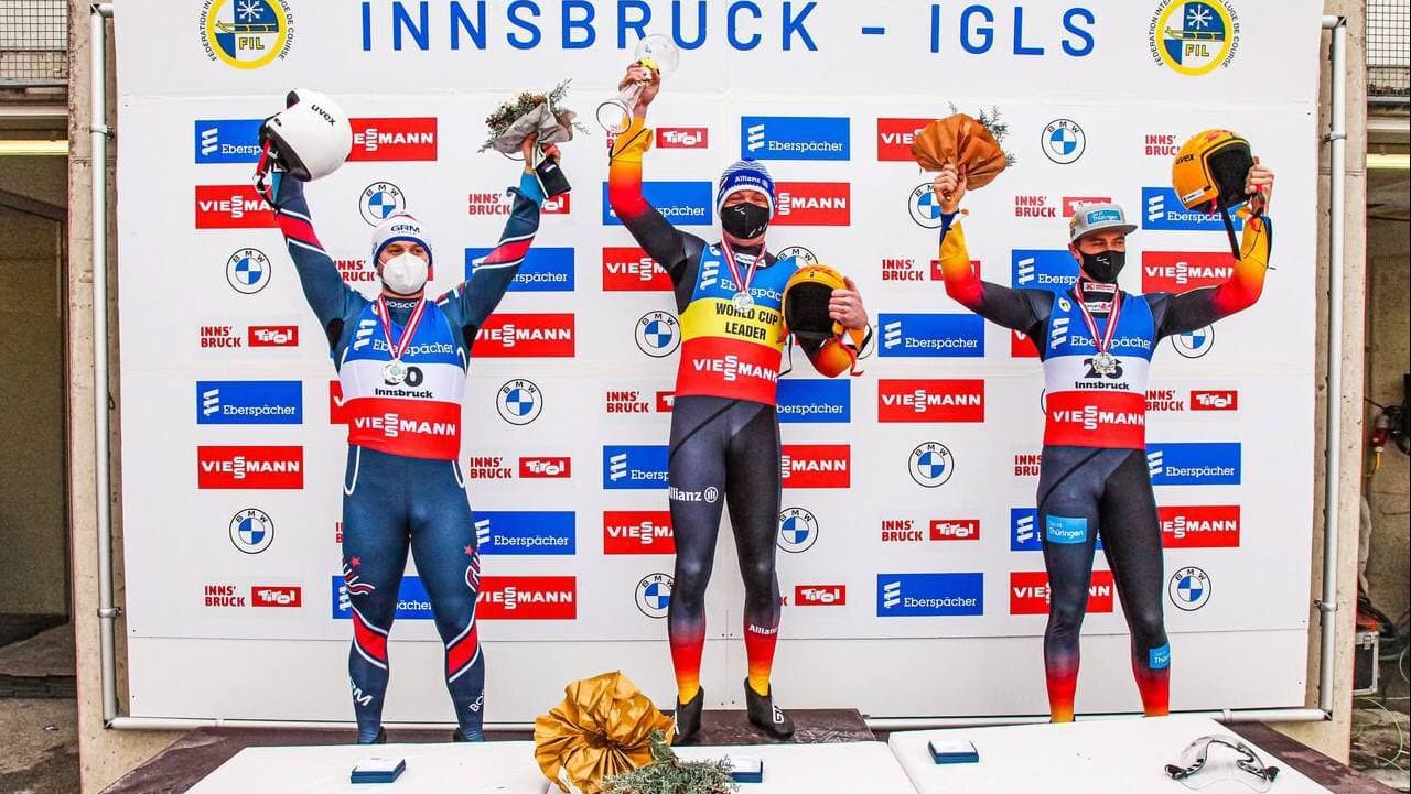 Подмосковный спортсмен завоевал золото и серебро Кубка мира по санному спорту