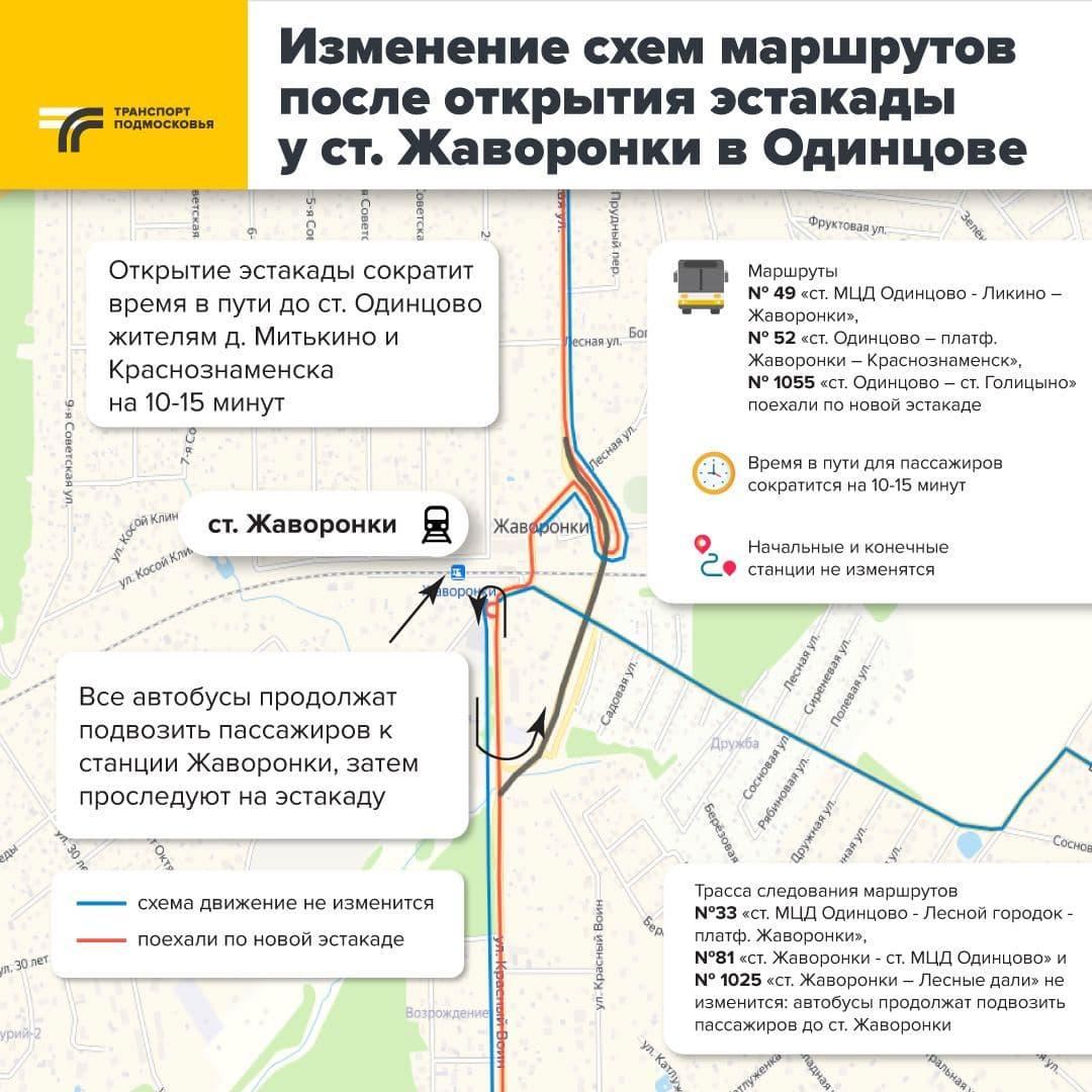 Схема движения автобусных маршрутов изменена на станции Жаворонки в Одинцове