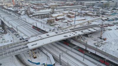 Надвижку правой стороны путепровода через ж/д Ярославского направления завершили в Мытищах