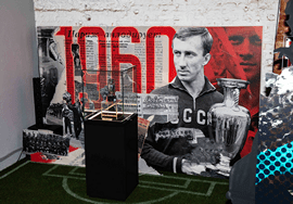 Государственный музей спорта Минспорта России проводит в Санкт-Петербурге выставку-инсталляцию «Квартира № 60», посвящённую победе сборной СССР на Чемпионате Европы 1960 года