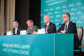 Олег Матыцин принял участие в пресс-конференции, посвящённой открытию пресс-центра Чемпионата Европы по футболу УЕФА ЕВРО 2020 в Санкт-Петербурге и официальному старту турнира