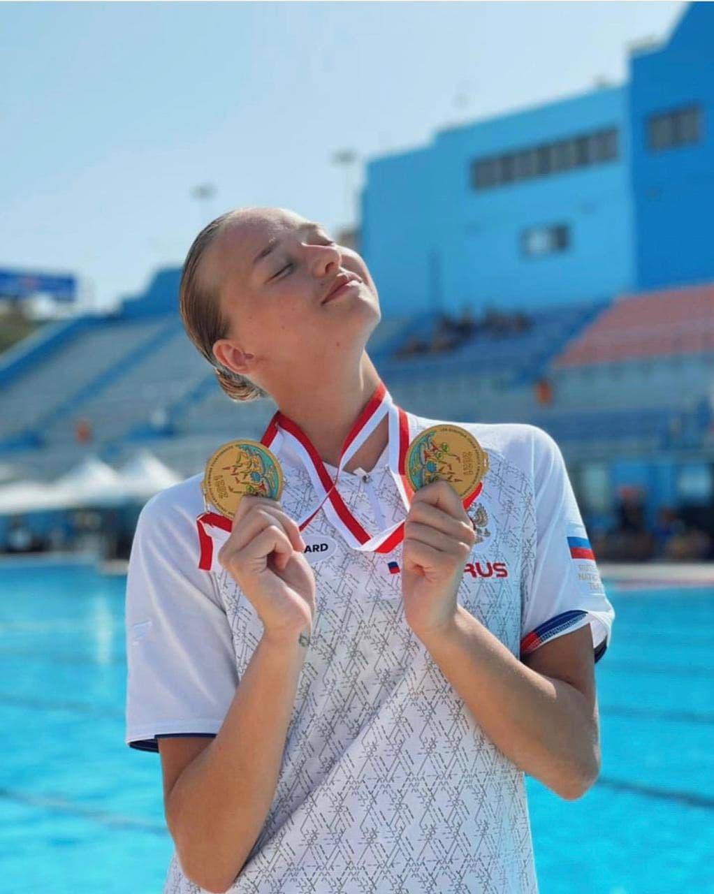 Подмосковная синхронистка в составе сборной России завоевала три золотые медали на первенстве Европы