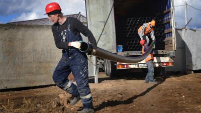 Работы по проведению водопровода в Воскресенском районе