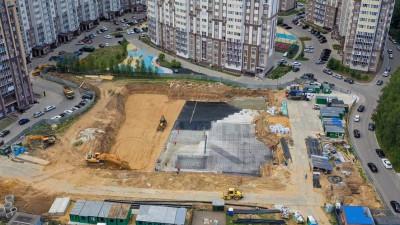 Строители приступили к устройству фундаментной плиты поликлиники в Домодедово